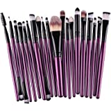20 Piezas Rcool Juego De Brochas Pinceles Profesionales Para Polvos Cepillo Sets Kits De Maquillaje (Violeta y Negro)