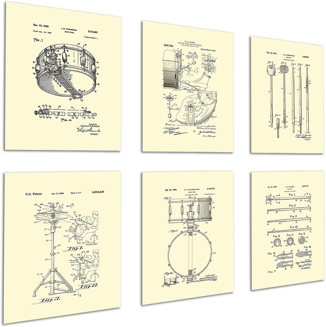Drum Posters Set of 6 Unframed Patent Art Gift for Drummer Wall Decor Drumming_Crm6A