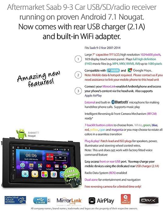 Amazon.com: Android Vehicle Player for Saab 9-3 2007-2014 USB MP3 Stereo Radio Fascia Kit GPS Digital Radio DAB + MirrorLink: Car Electronics