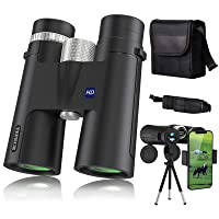 TEPECH 12x42 Binoculars for Bird Watching, Hunting Binoculars for Adults Clear Weak Light Vision with Smartphone Adapter Tripod and HD BAK4 FMC Lens