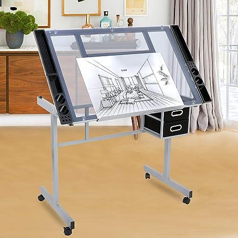 HomGarde - Mesa de dibujo y manualidades con escritorio ajustable ...