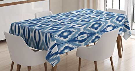 Amazon Com Ambesonne Ikat Tablecloth Ikat Design With Regular Multi Shaft Loom Uneven Twill Trend Motif Dining Room Kitchen Rectangular Table Cover 60 X 84 Blue White Home Kitchen