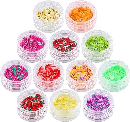 Lurrose 12 tipos de caja de frutas Slice Fruit Slime Nail Art Making Supply Fruit serie DIY decoración de uñas: Amazon.es: Belleza