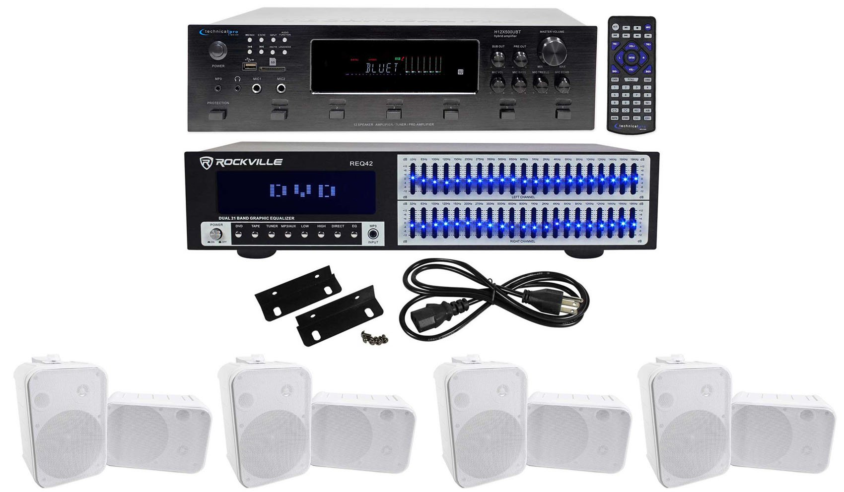 Technical Pro 6000w 6) Zone Home Theater Bluetooth Receiver+8) 6.5'' Speakers+EQ by Technical Pro