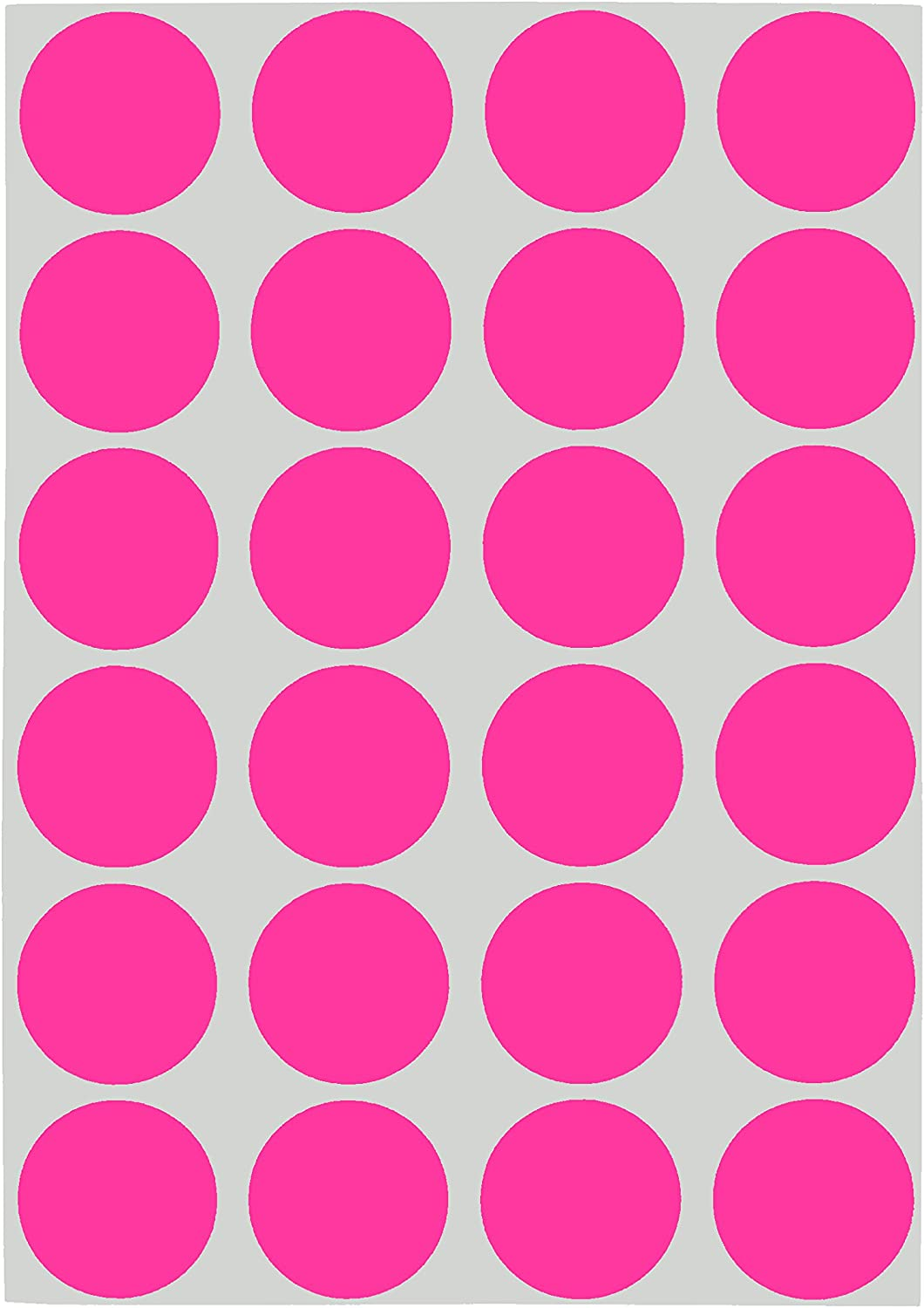 ChromaLabel 3/4 Inch Round Removable Color-Code Dot Stickers, 1008 pack, 24 Labels per Sheet, Fluorescent Pink