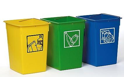 dc0bd8447 Cubo basura reciclar 26 litros C/Asa -Pack 3 ud-: Amazon.es ...