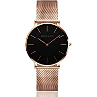 Women's Analog Quartz Rose Gold Watch with Stainless Steel Mesh Strap Ladies Watch Simple and Elegant