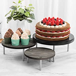 MyGift 12-inch Round Vintage Gray Wood Dessert Display Riser Stands with Stainless Steel Legs, Set of 3