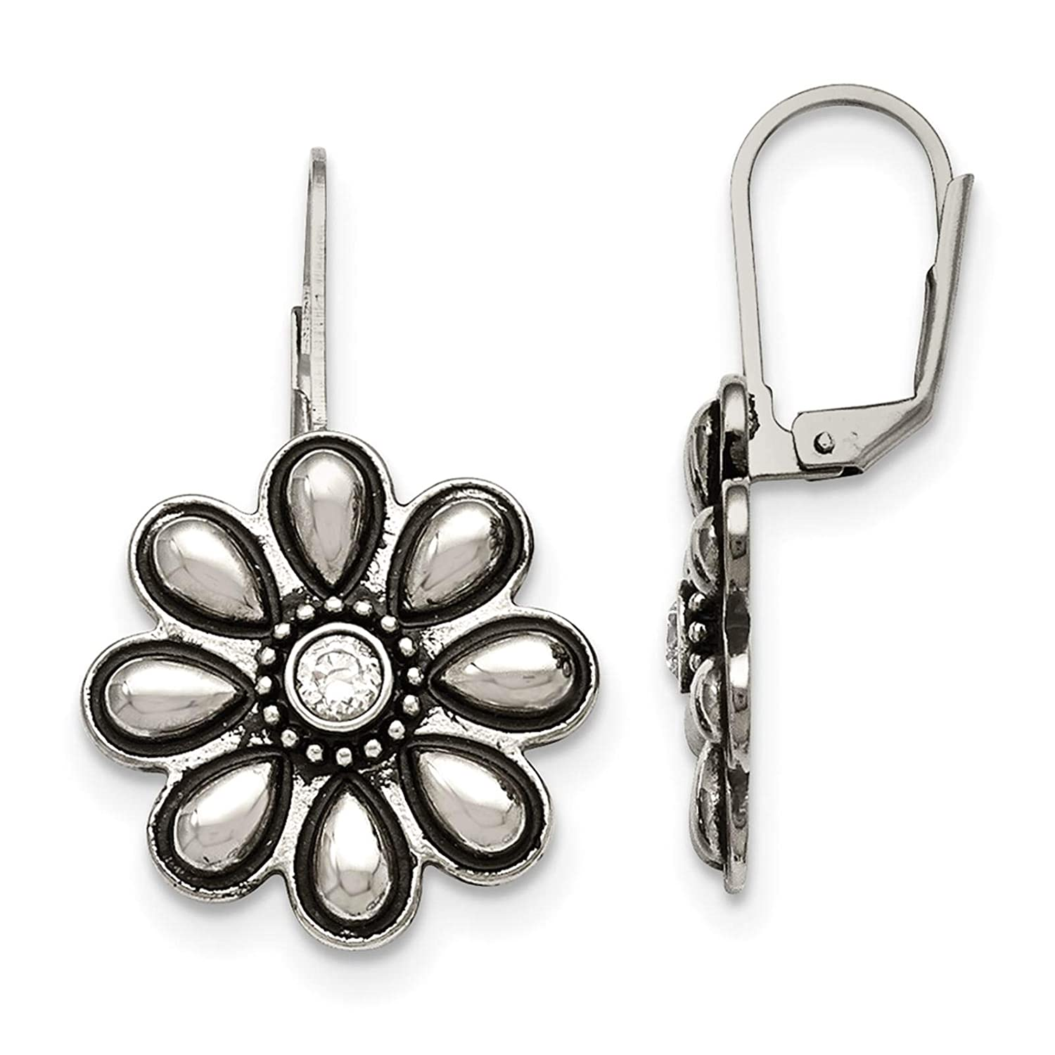 Stainless Steel Polished /& Antiqued Flower w//CZ Dangle Earrings
