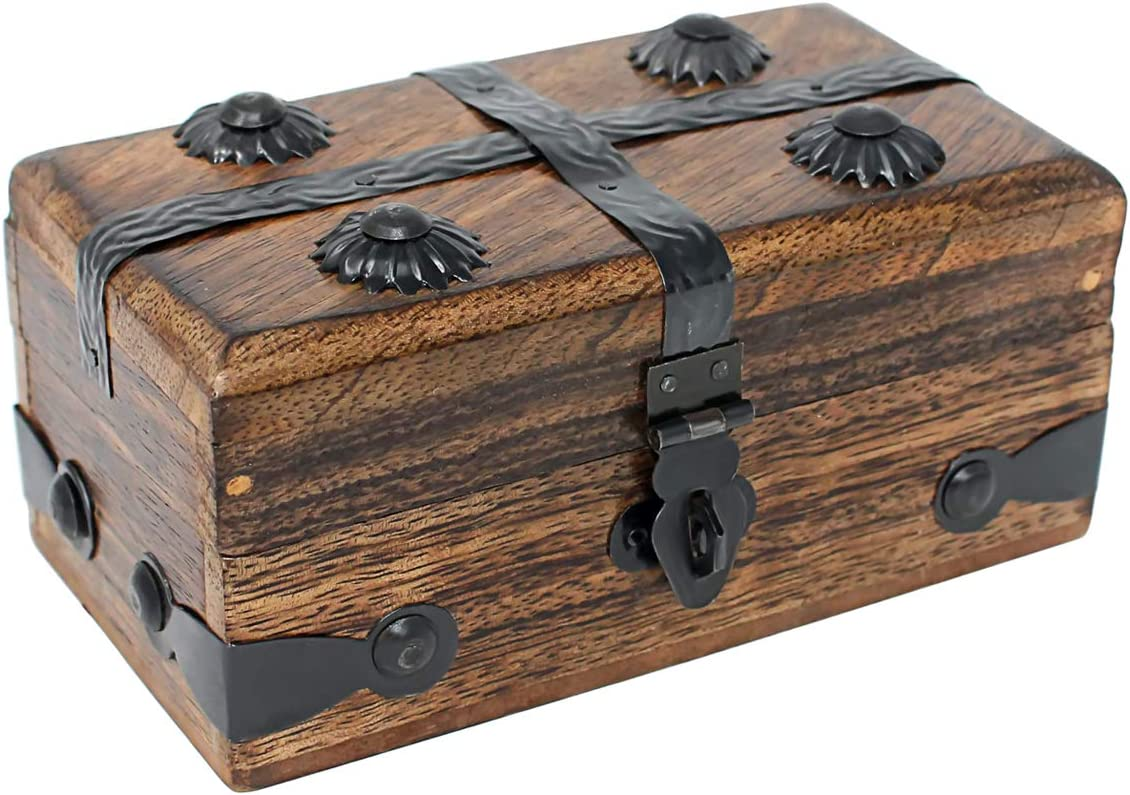 Nautical Cove Wooden Treasure Chest Keepsake Box (Small)