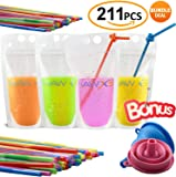 SPECIAL OFFER 105Pcs Disposable Drink Container Set By Hawxs – Drink Pouches & Reclosable Zipper For Cold & Hot Drinks – Non-Toxic, BPA & Phthalate Free – 105 bendable straws & Funnel Included
