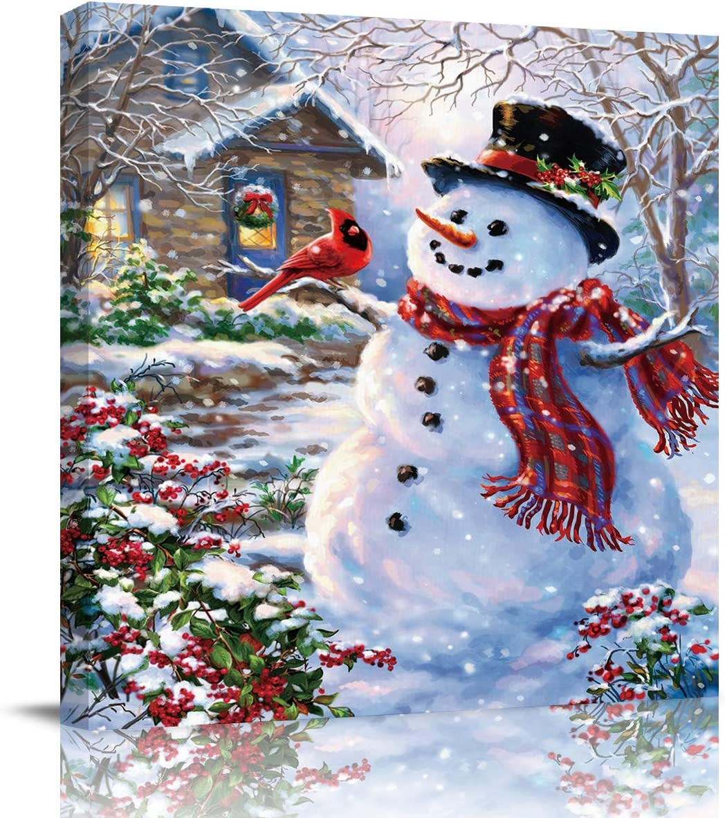 Square Canvas Wall Prints Art for Living Room Bedroom 20x20 inch - Christmas Winter Snow Scenery Cute Snowman Red Bird Poster Artwork Picture Painting Ready to Hang for Home Bathroom Office Decor