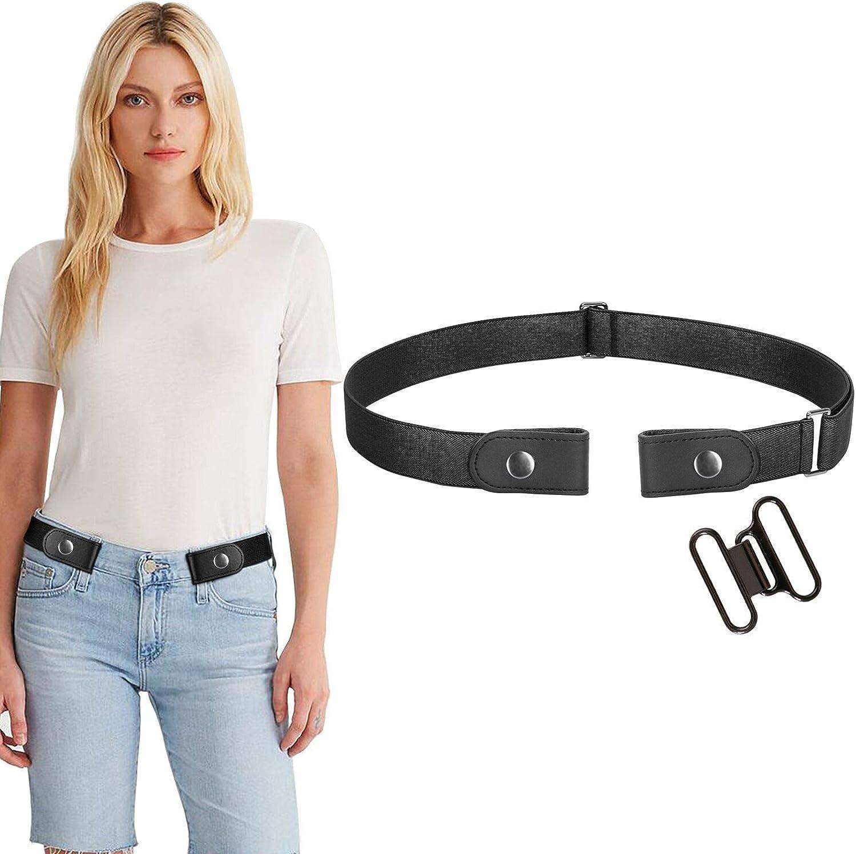 4 Unidades, 19-29 Opplei No Buckle Free Belt Cintur/ón el/ástico con Pantalones Vaqueros para Mujer y ni/ño