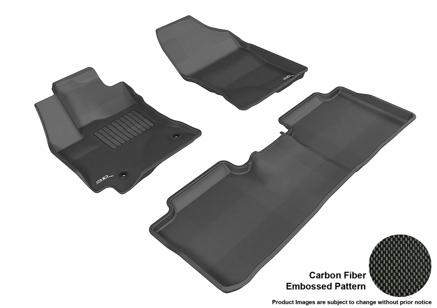 Black 3D MAXpider Second Row Custom Fit All-Weather Floor Mat for Select Toyota Corolla Models Kagu Rubber