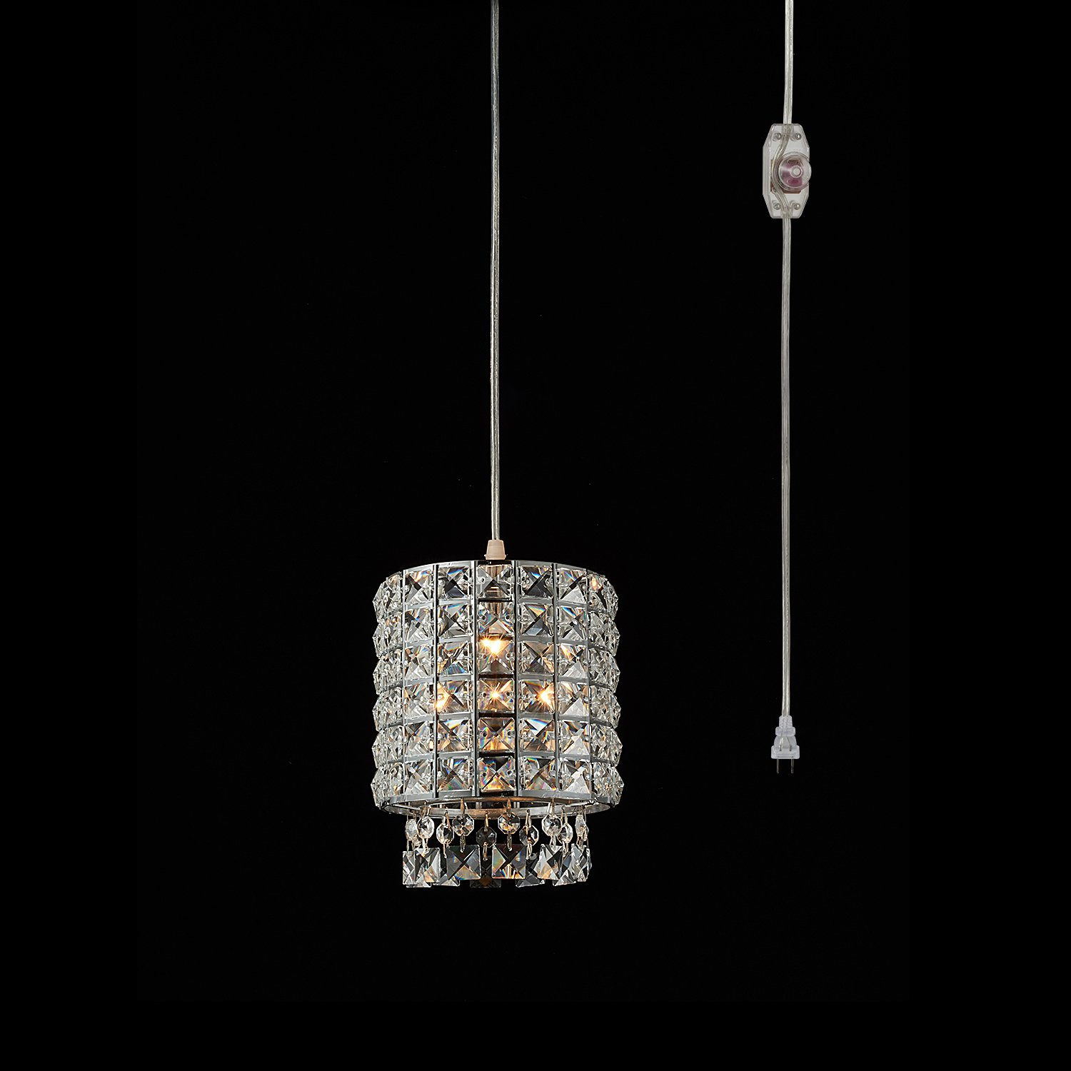 1-Light Portable Hanging Plug-In Pendant Silver Chandelier