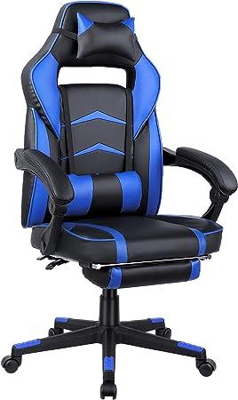 360° Drehstuhl Racing Gaming Sportsitz Chefsessel Bürostuhl Grau mit Fußstütze