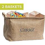 "OrganizerLogic 2 Jute STORAGE BINS (Bundle) 14""Long (NEW! Thicker Jute), large enough for Toy Storage - Storage Basket for organizing Baby Toys, Kids Toys, Baby Clothing, Children Books, Gift Baskets."