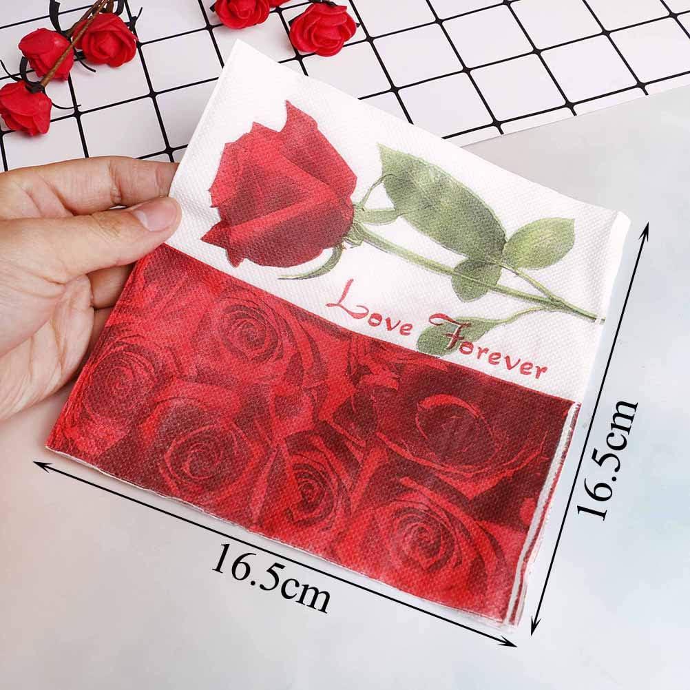 33cm Elegant Red Rose Flower Napkins Paper TIANTIAN 20Pcs 33 Buffet Cocktail Napkins,Wedding Decoration Supplies