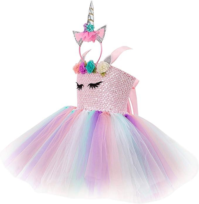 New front Unicornio Disfraz para Niña Vestido de Princesa Diadema ...