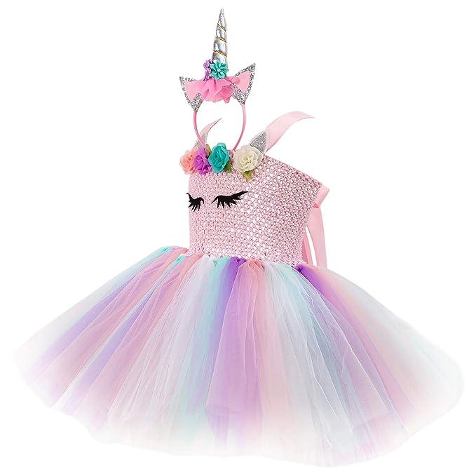 New front Unicornio Disfraz para Niña Vestido de Princesa ...