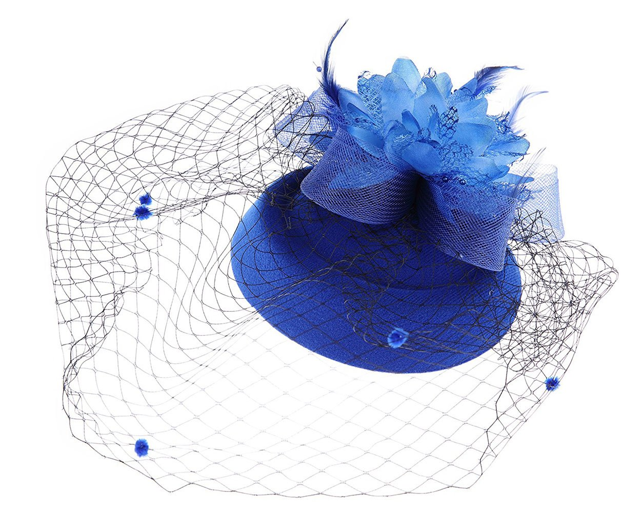 Flywife Fascinator Hats Pillbox Hat British Bowler Hat Flower Veil Wedding Hat Tea Party Hat