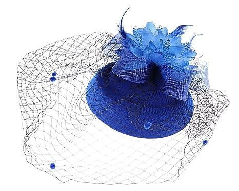 f45ee3abe1f Fascinator Hats Pillbox Hat British Bowler Hat Flower Veil Wedding Hat Tea  Party Hat (Blue