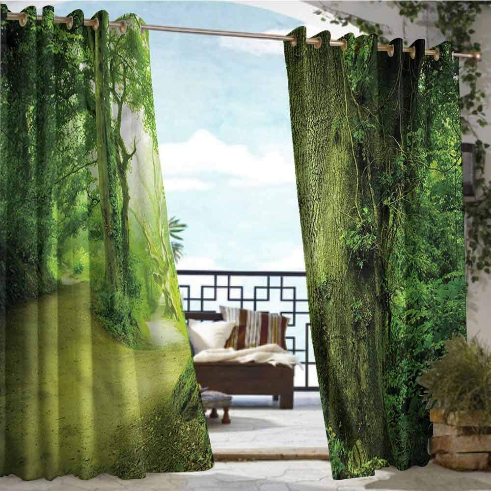 crabee Outdoor Privacy Curtain for Pergola Fairy,Wilderness Fantasy Theme,W96 xL96 for Front Porch Covered Patio Gazebo Dock Beach Home