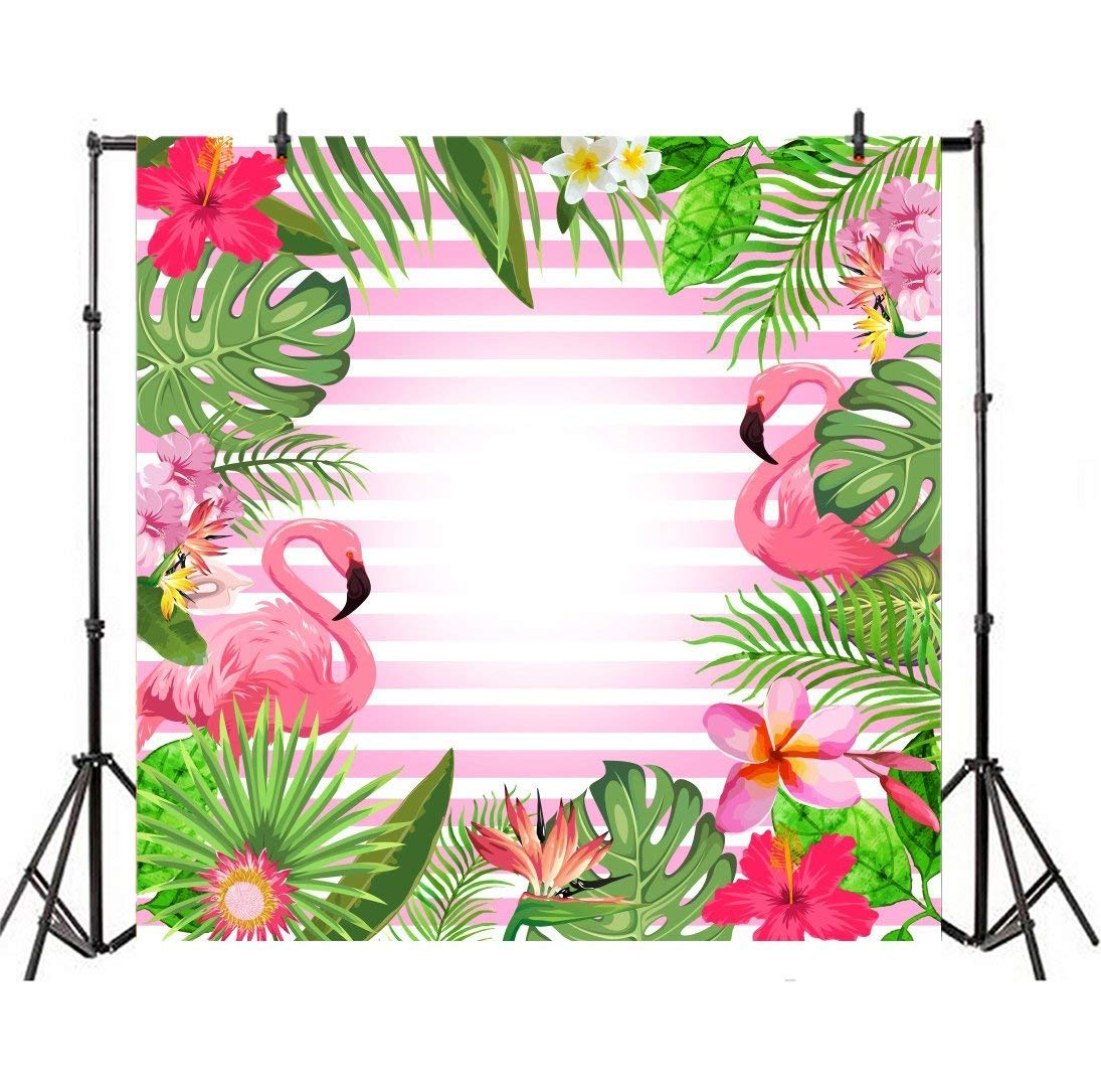 Leyiyiyi Beautiful Flamingo Backdrop 6x6ft Photography Backdrop Fresh Leaves Colorful Blossoming Flowers White Pink Stripe Background Birthday /Girl Party Shower Backdrop Photo Props