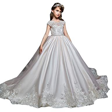 SHENLINQIJ Flower Girls Dresses Long Vintage Lace First Communion Pageant Ball Gowns