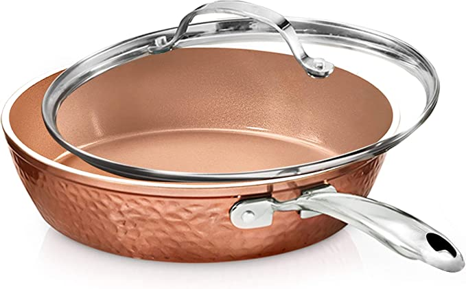 "GOTHAM STEEL HAMMERED COPPER COLLECTION- 10"" NONSTICK FRY PAN WITH LID"