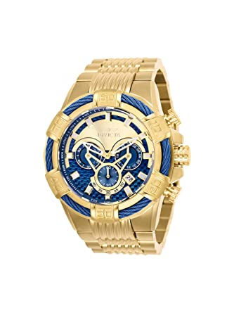 25542 - INVICTA Bolt Men 52mm Stainless Steel Gold Blue dial VD53 Quartz