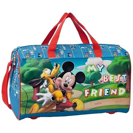 Disney Bolsa de Viaje Mickey y Pluto, 38 cm, 15 litros, Azul