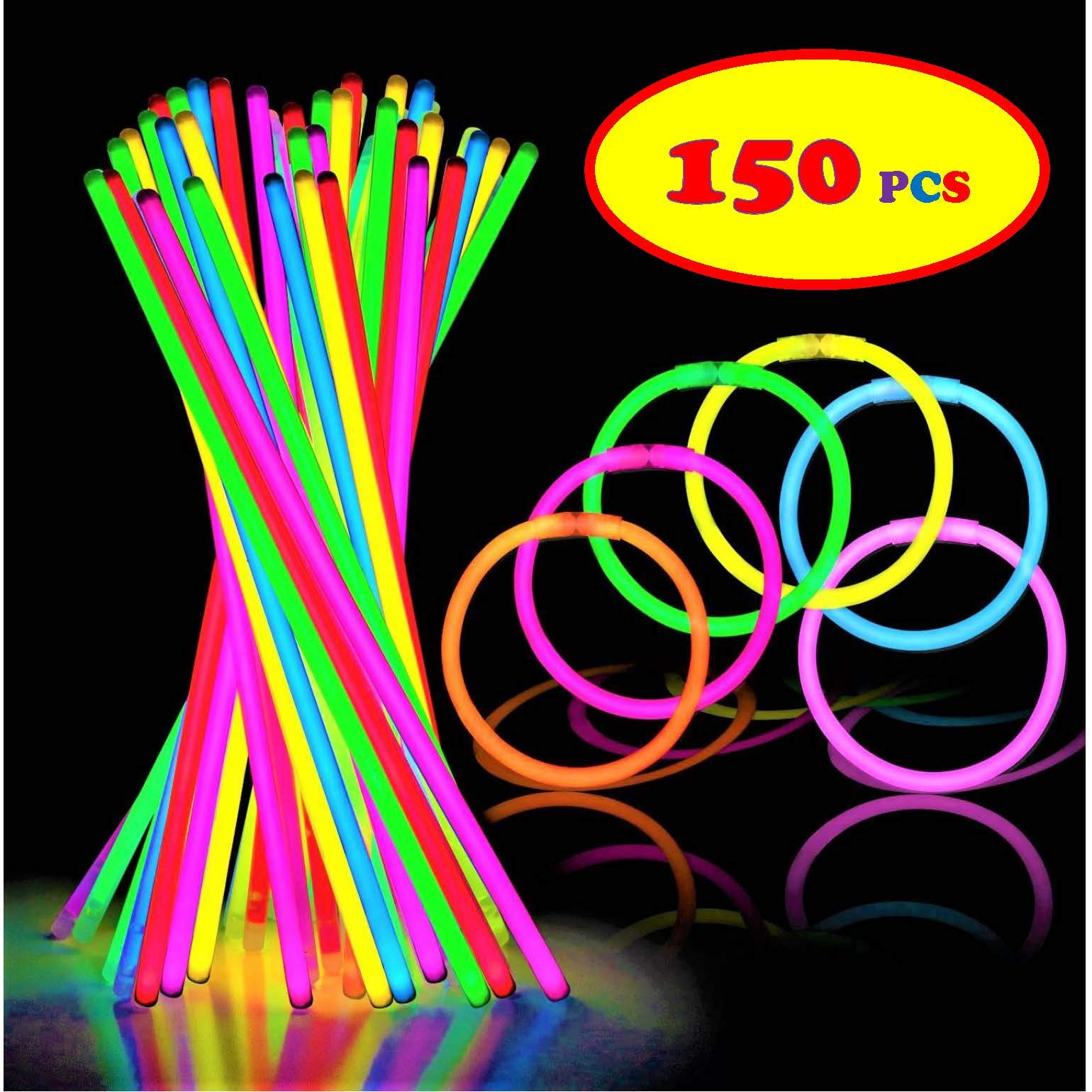 150 Ultra Bright Glow Sticks - Total 300 Pcs - 8'' Necklaces And Bracelets Glow Stick With Connectors - Bulk Party Pack Ultra Bright Glowsticks - 10 Hour Duration - Mixed Colors In 3 Tubes