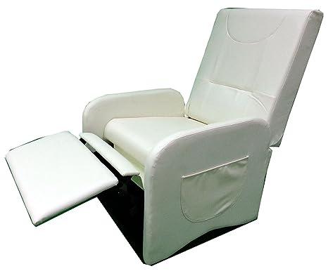 Poltrona Pouf Relax Eurospin.Poltrona Reclinabile Relax Ecopelle Pouf Con Poggiapiedi Sistema Manuale Colore Panna