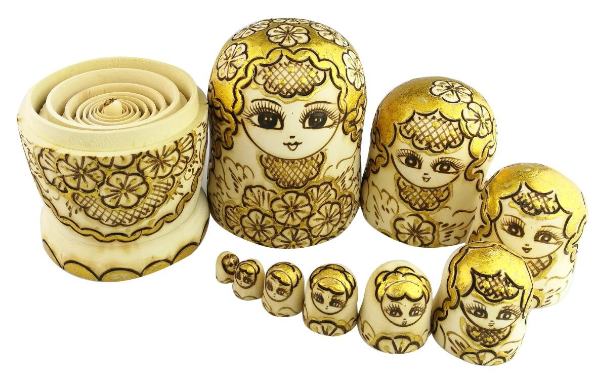 Winterworm Beautiful Attractive Adorable Exotic Glossy Yellow Gold Flower Pattern Handmade Wooden Russian Nesting Dolls Matryoshka Dolls Set 10 Pieces for Kids Toy Birthday by Winterworm (Image #5)