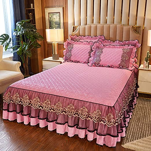 Fashion Solid Color Bed Skirt Pillowcases Bedroom Bedding Full Queen King Size
