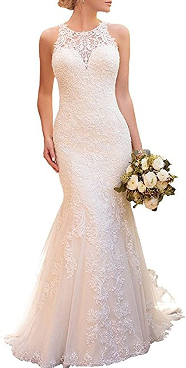 Amazon Com Alanre Halter Mermaid Appliques Lace Bridal Gown See Through Back Wedding Dresses Clothing