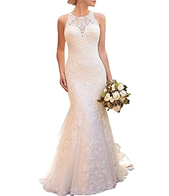 f93eb4284d69 Alanre Halter Mermaid Appliques Lace Bridal Gown See-Through Back Wedding  Dresses at Amazon Women's Clothing store: