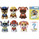 Paw Patrol Stuffed Plush Animals Gift Set of 6 TY Beanie Boos Babies of Chase, Marshall, Rubble, Rocky, Zuma & Skye - Plus One Mini Boo Mystery Box & One Coloring Book - Kids Toys - For Boys & Girls