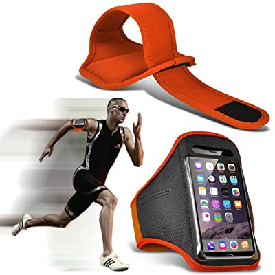 I-Sonite (Orange) Adjustable Sweatproof/Water Resistent Sports Fitness Running Cycling Gym Armband Phone Case For LG V30s + ThinQ
