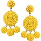 Humble Chic Women's Peppy Disc Dangles - Beaded Chandelier Bubble Ball Statement Earrings