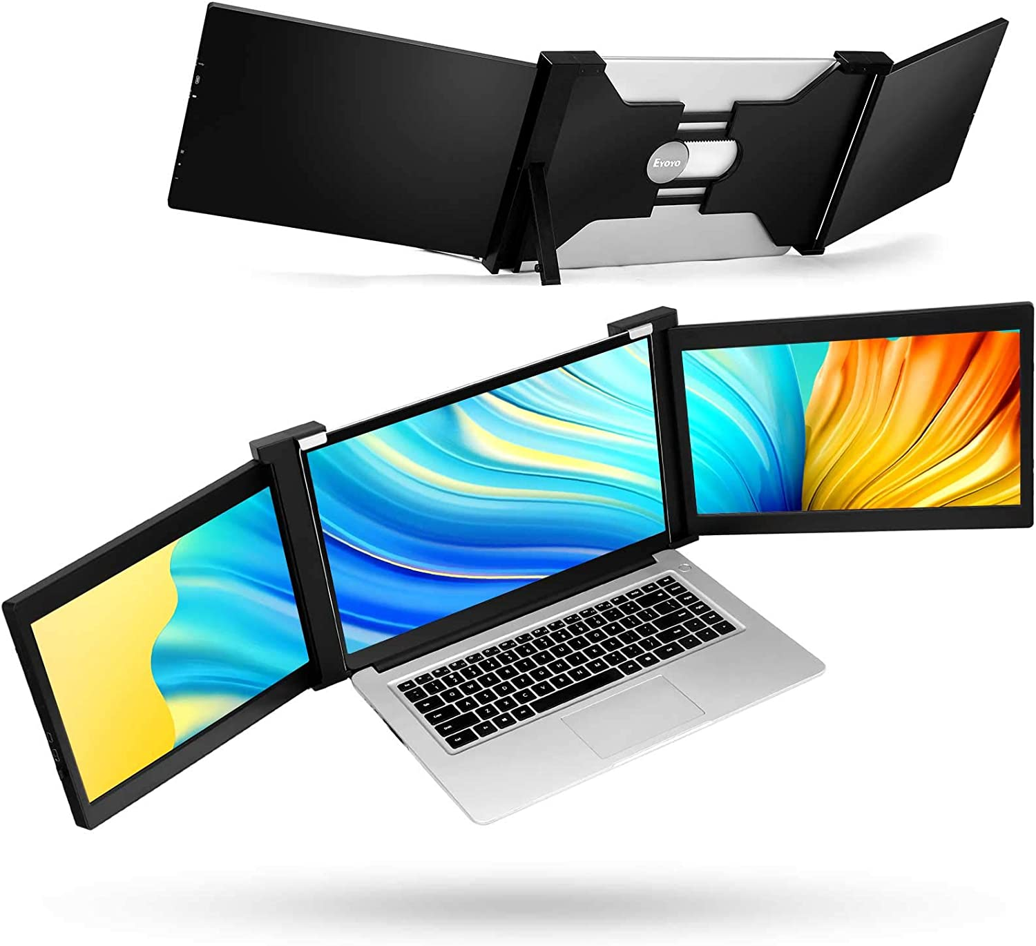 Portable Triple Screen Laptop Workstation External Monitor for Laptop USB C Monitor Compatible with 14