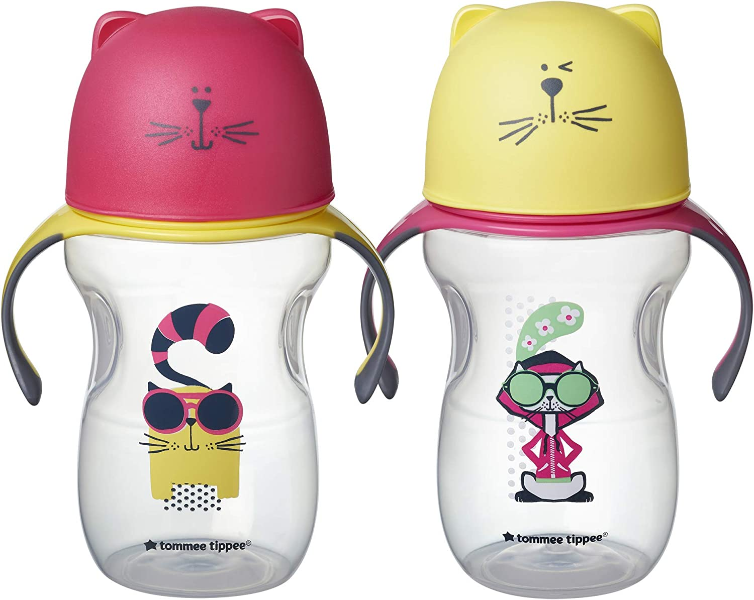 Girl Pink /& Yellow 2pk 12+ Months Tommee Tippee Natural Transition Soft Spout Sippy Cup