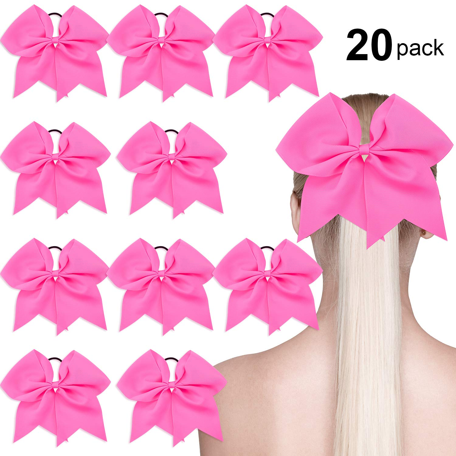 low price sale low price sale new high quality 20 Pack Breast Cancer Awareness Cheerleading Hair Bow Ponytail Holder Large  Bow Hair Tie for Cheerleader Girls, Hot Pink, 7 Inch