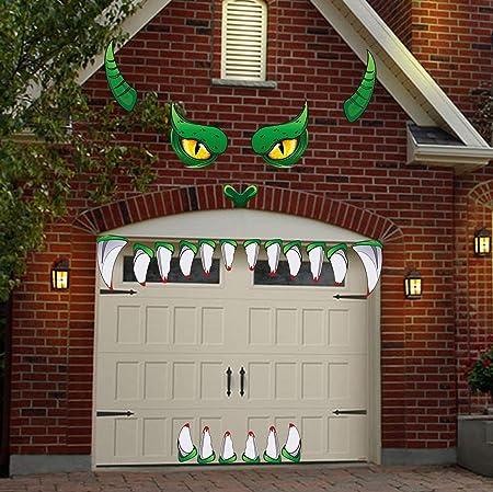 Lhkser Halloween Monster Gesichtsdekorationen Halloween Dekoration Fur Garage Torbogen Tur Fenster Auto Halloween Dekoration Amazon De Garten
