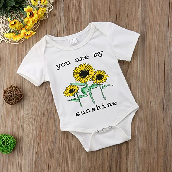 490509a70968 Amazon.com  Winagainer Newborn Baby Boy Girl Sunflower Romper Bodysuit  Short Sleeve Onesie Jumpsuit Summer Outfits Clothes  Clothing