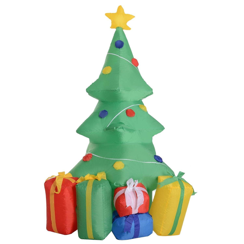 HOMCOM Árbol de Navidad Inflable 1.5m Árbol Decorativo Navideño con Adornos Regalos Iluminado LED Decoración Navidad Patio con Hinchador 844-182