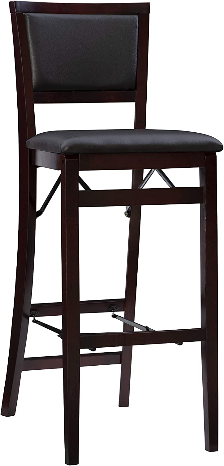 Amazon Com Linon Keira Pad Back Folding Bar Stool Furniture Decor