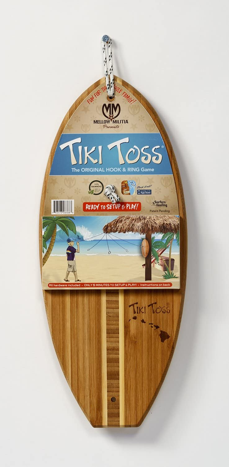 Made With all Bamboo Only 5 Minutes To Setup Tiki Toss Hook and Ring Toss Game Assorted. Hawaiian Edition all Parts Included