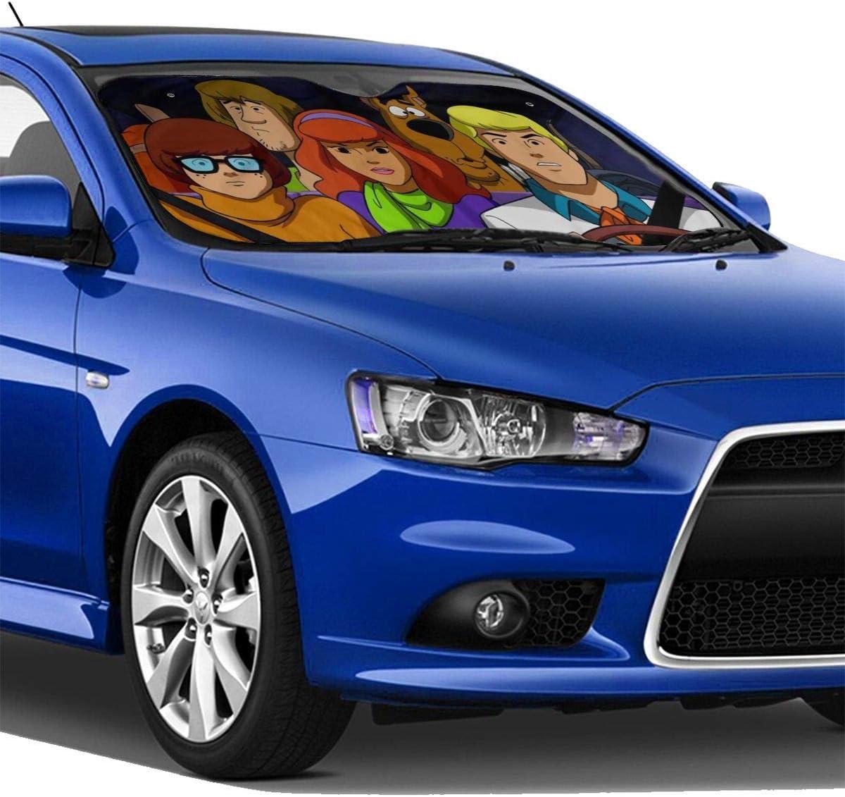 KOPDSE Scooby Doo Windshield Sun Shade Sunshades Keep Vehicle Cool Protect Your Car from Sun Heat UV Ray Visor Protector